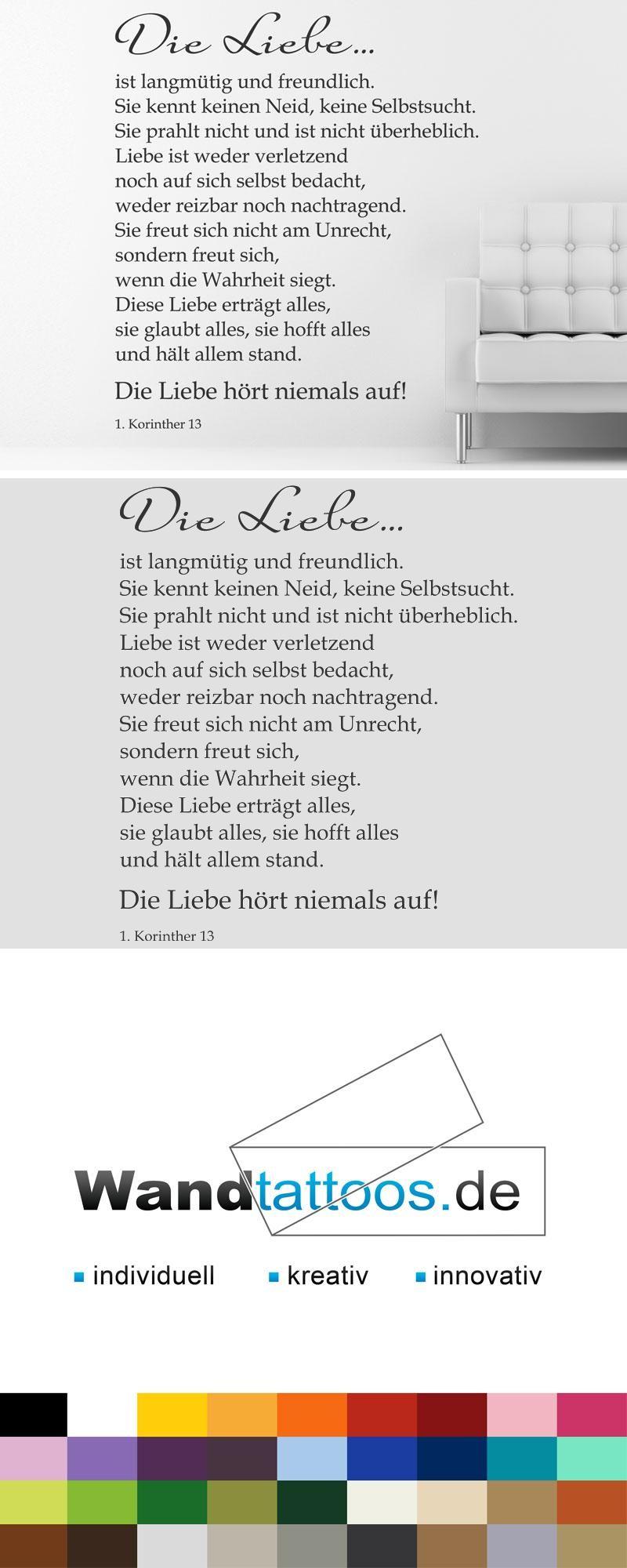 Wandtattoo Das Hohelied der Liebe - Hochzeit   Zitate ...