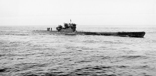 The U-190, type of German U-boat, which was surrendered to ...