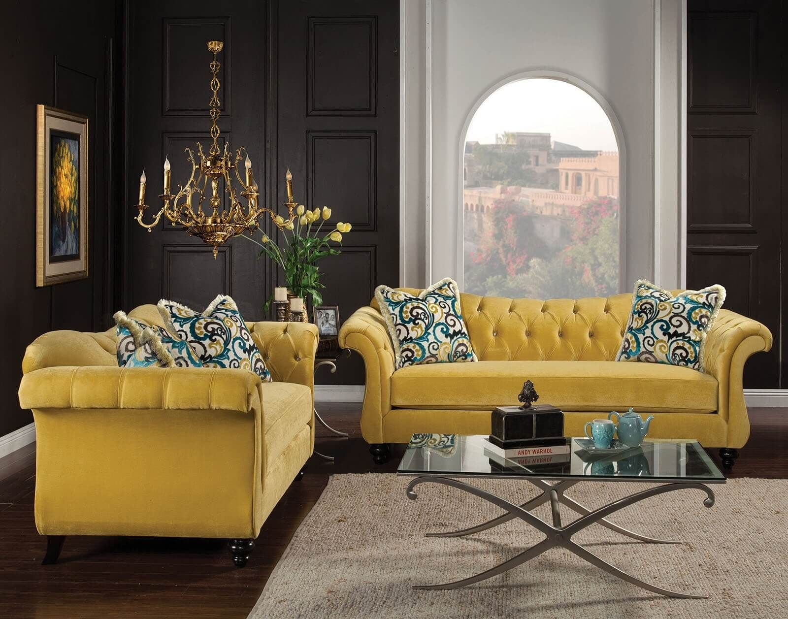 2 piece royal yellow tufted sofa set made in