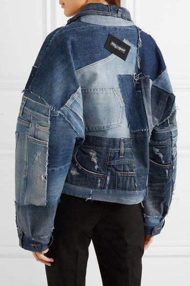 c6128a16da91 Dolce   Gabbana Distressed Patchwork Denim Jacket - Mid denim