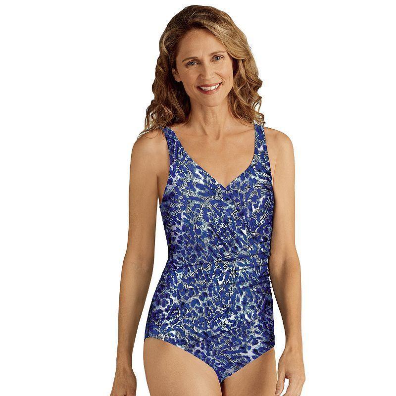 Women's Amoena Cairo Ikat One-Piece Swimsuit, Dark Blue