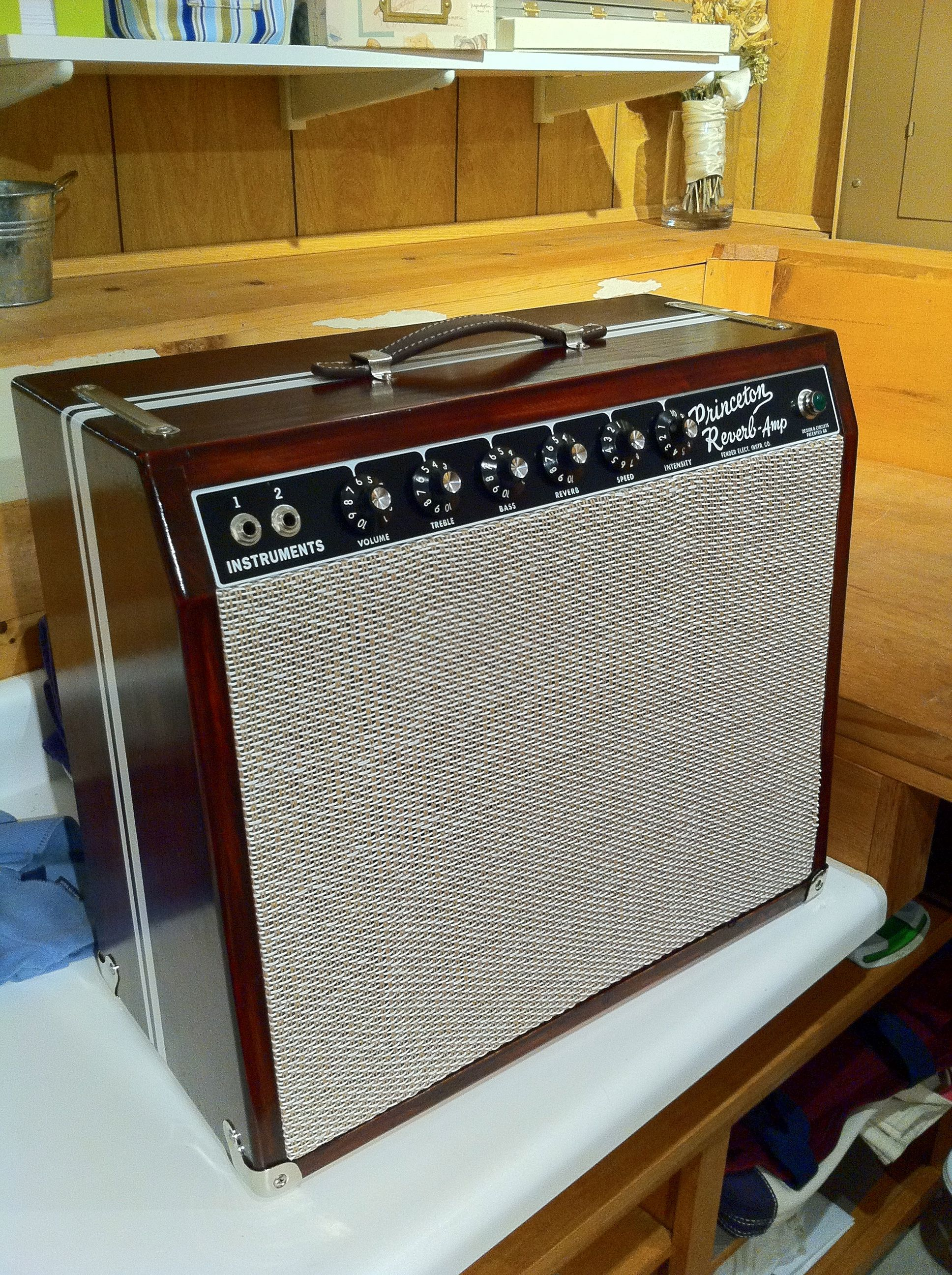 modified fender princeton reverb w custom cabinet the things that i need guitar amp fender. Black Bedroom Furniture Sets. Home Design Ideas