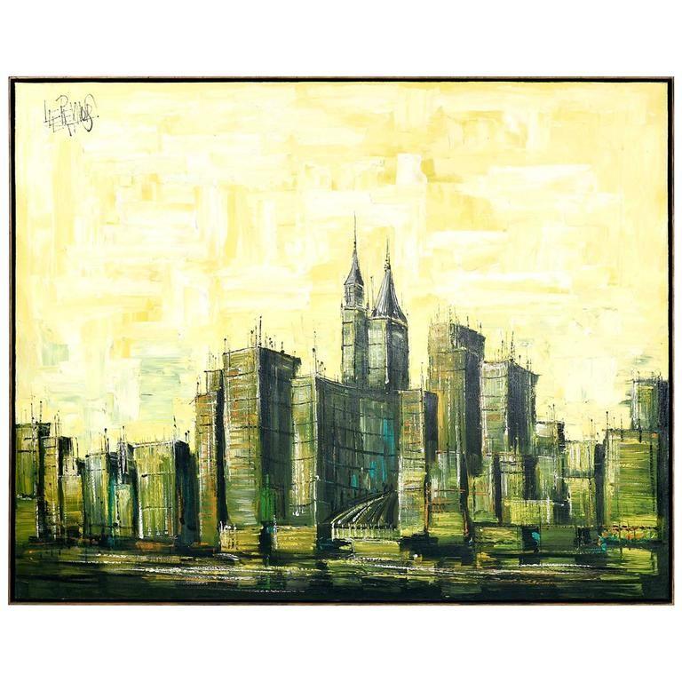 Mid-Century Modern Lee Reynolds Cityscape Painting   Mid-century ...