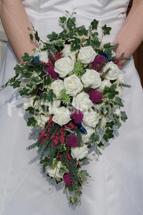 Scottish Magenta Thistle Scottish Wedding Flowers Silk Artificial Wedding Bridal Bouquets Bridal Bouquet Wedding Bouquets