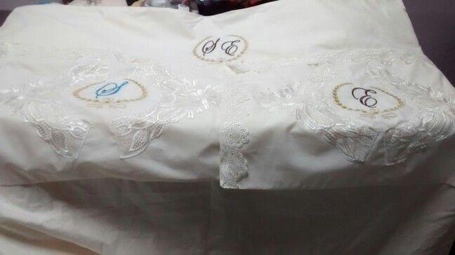 Jogo de lençol de casal com porta travesseiro de percal 180 fios e guipir