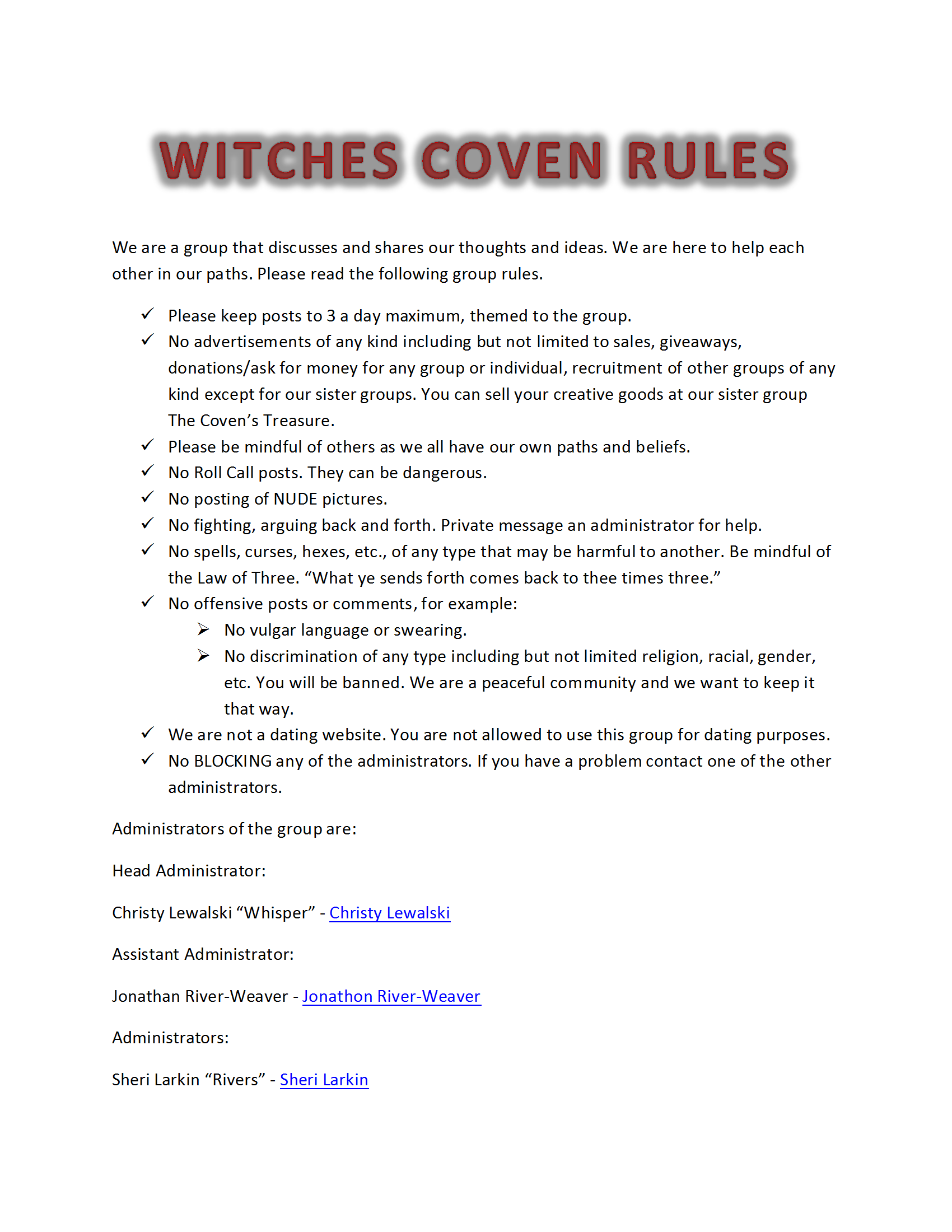 Witches Coven Rules docx | Wicca | Witch coven, Wicca, Coven