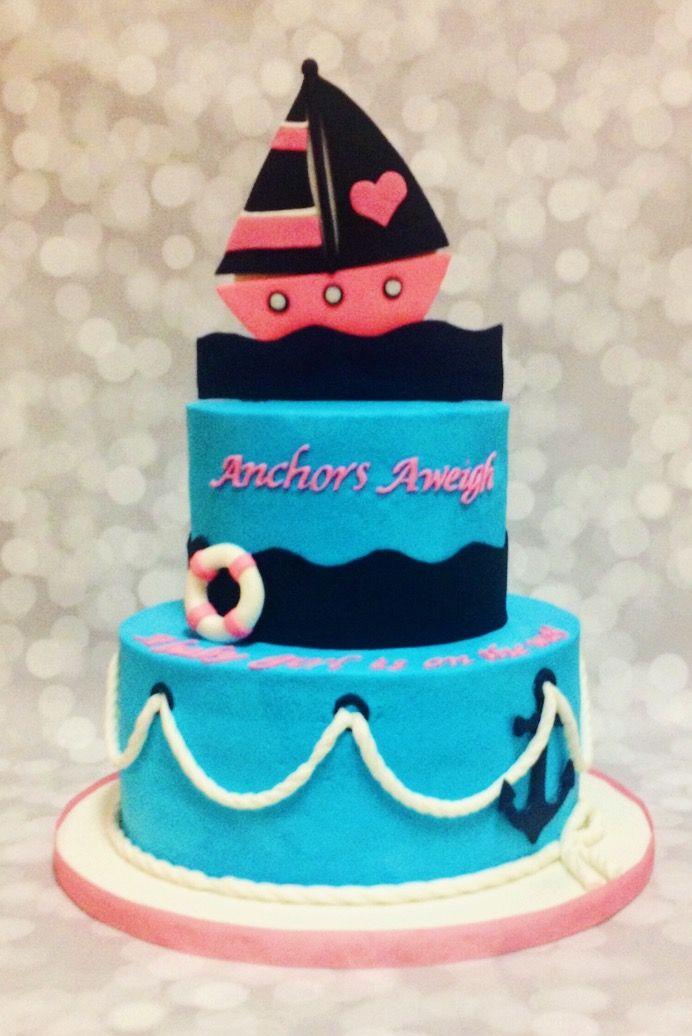 Custom Nautical Birthday Cake by A Little Slice of Heaven Bakery in