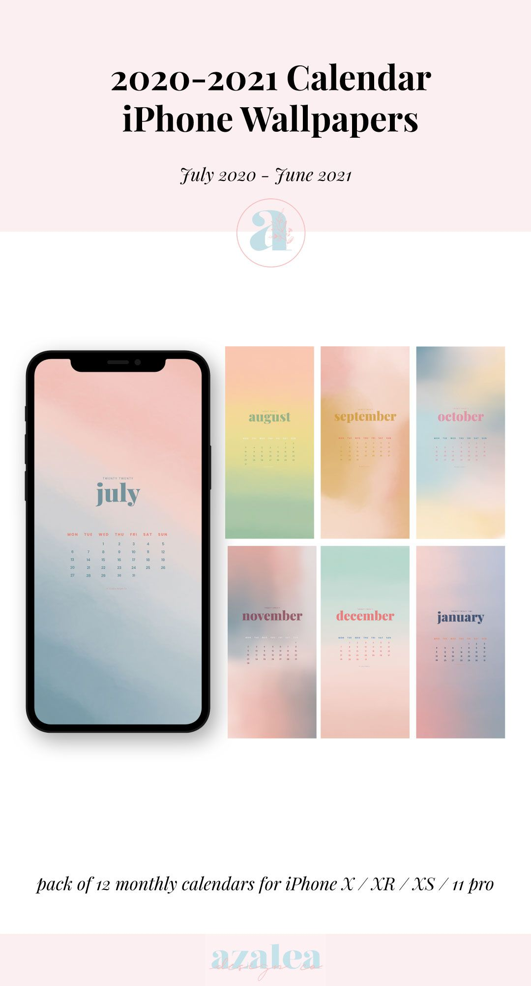 2021 Watercolour Iphone Calendars Phone Wallpaper Instant Download Watercolor Iphone Phone Wallpaper Pink Wallpaper
