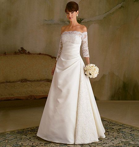 Butterick 5184 Wedding Gown Detachable Sleeve Ptrn 8-14
