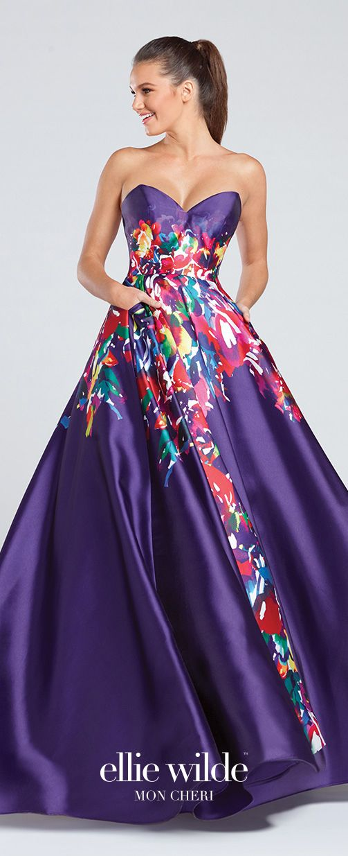 Strapless Signature Print Mikado Full A-Line Prom Dress - EW117003 ...