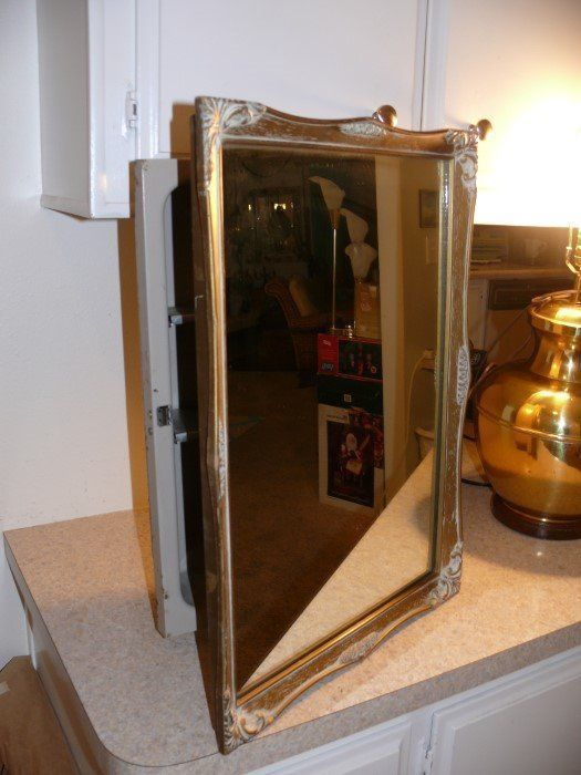 Bathroom Lighting Kent vtg mid century ornate gold mirror frame wall recessed bathroom