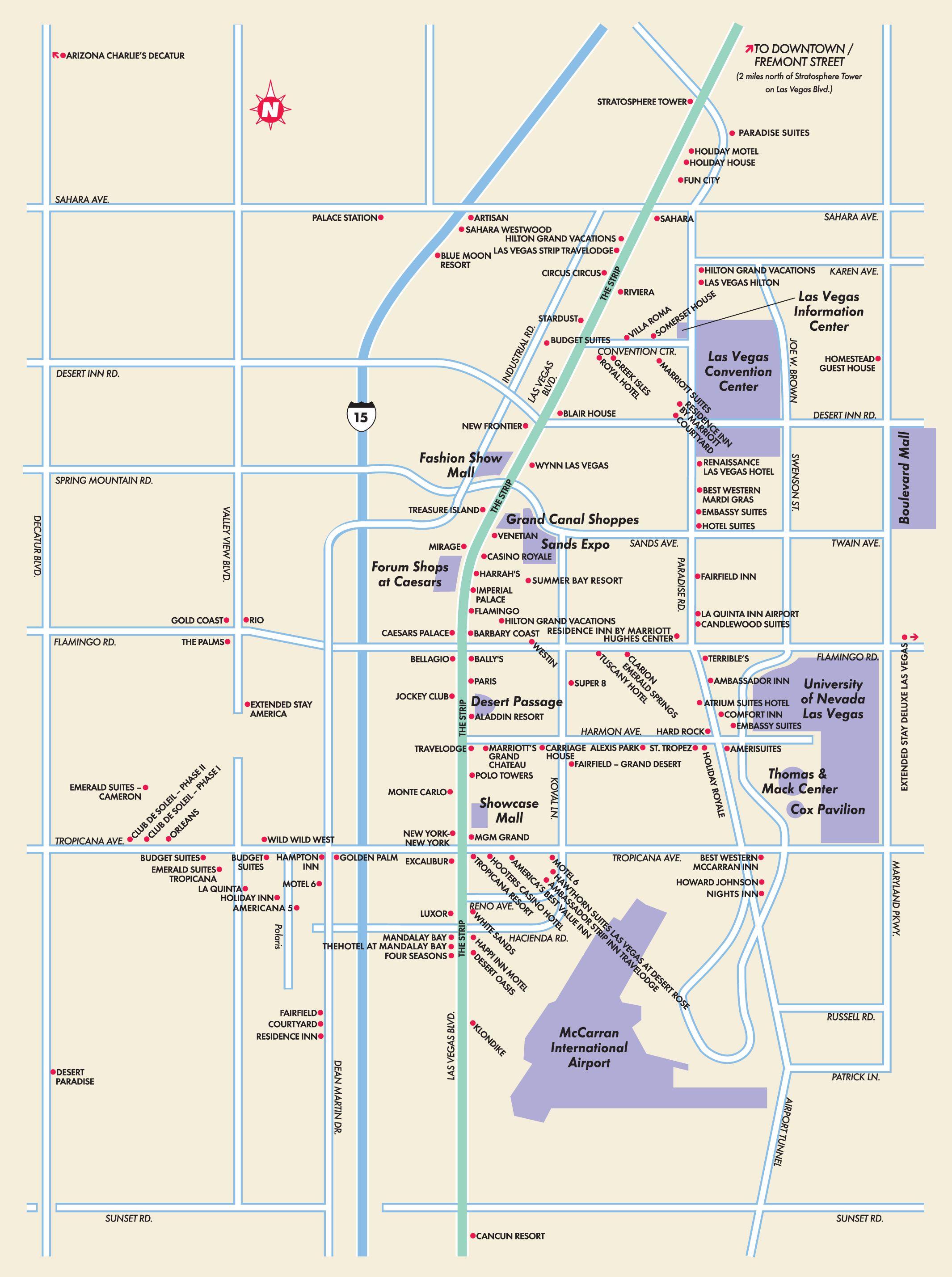 Las Vegas Strip Las Vegas Nevada Map - Las Vegas NV ...