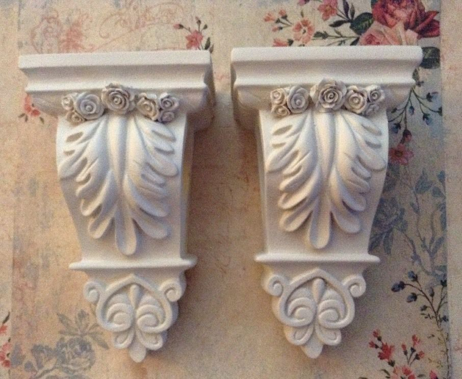 Large Pair Pretty Curtain Rod Sconces With Roses French Vintage