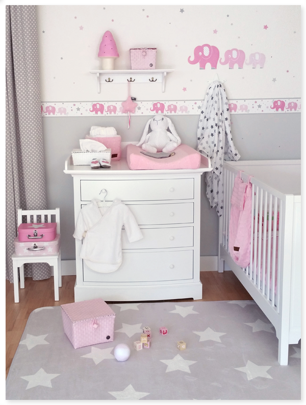 Elefanten girls rosa grau dinki balloon girls nursery Kinderzimmer rosa grau
