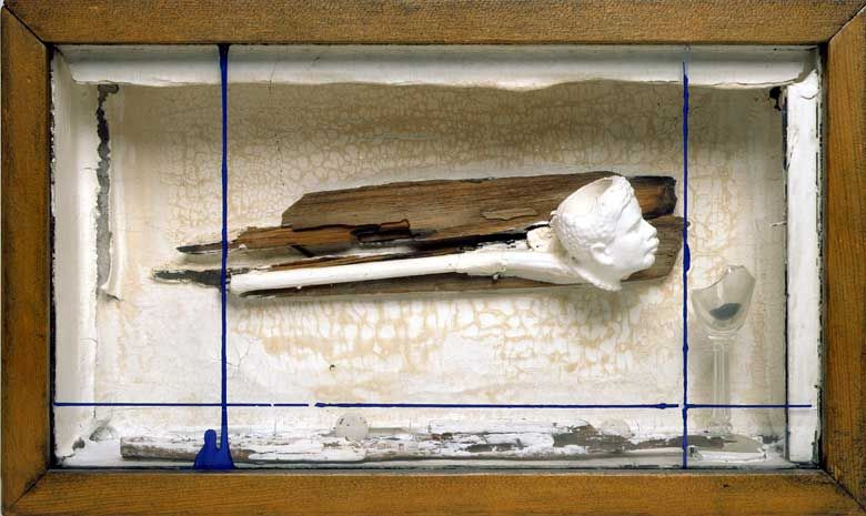 """Joseph Cornell - """"Sirius,"""" circa late 1950s Painted construction including printed paper, driftwood, cork, sand, soap-bubble pipe and glass in the artist's box 9"""" by 15"""" by 3 ½"""""""