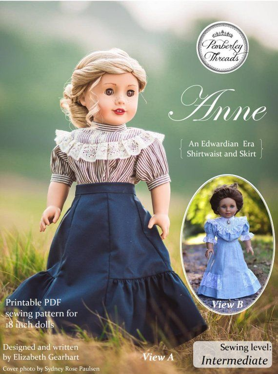 PDF Pattern Anne Shirtwaist and Skirt for 16 and 18 inch dolls such ...