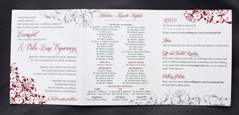 Red  Gray Ornate Swirls  Scrolls Trifold Wedding Invitations