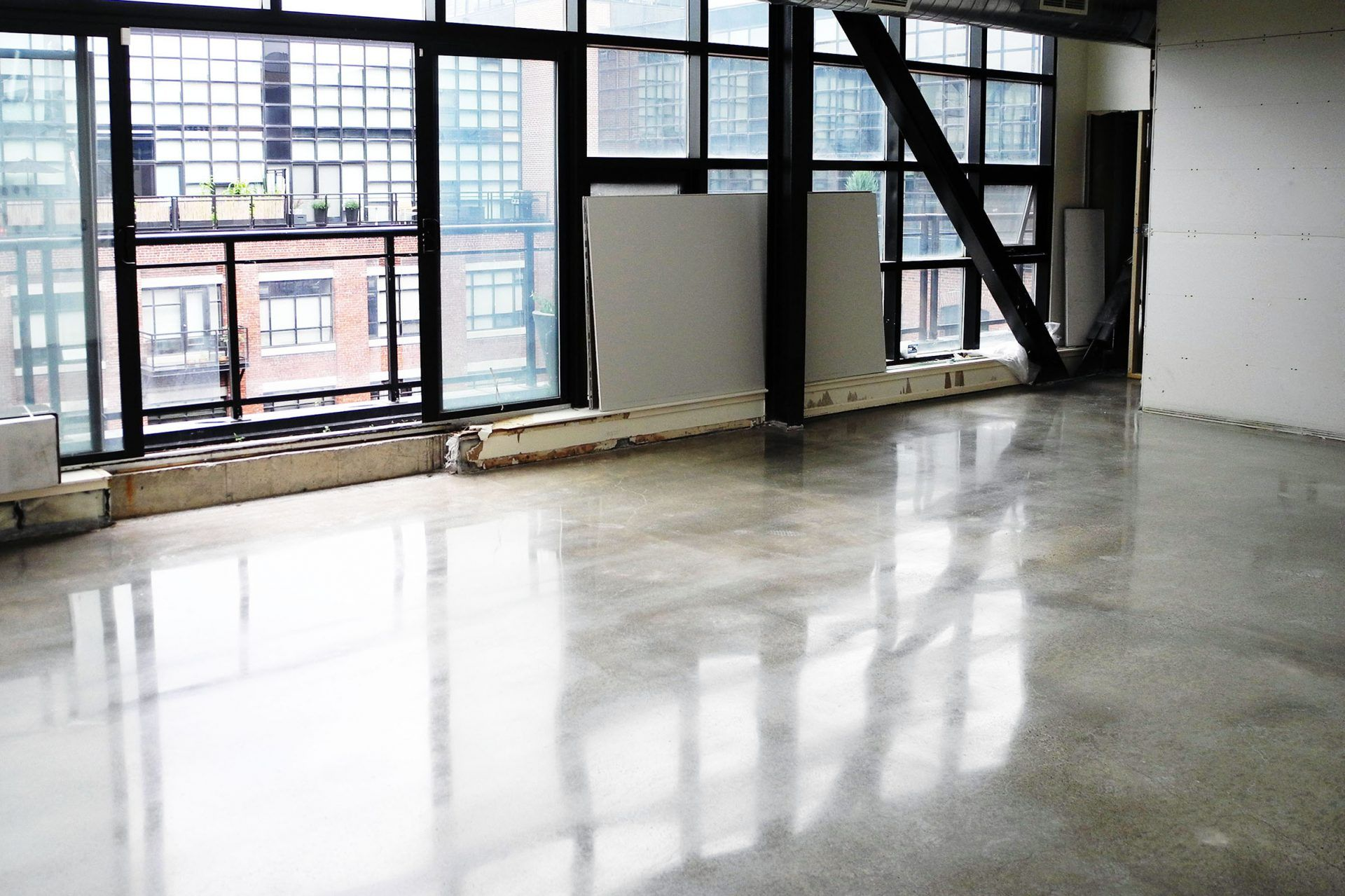 Polished Concrete Flooring In A Toronto Condo Polished Concrete Flooring Concrete Floors Residential