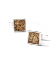 "5 Year Anniversary Gift For Him ""BROWN BURL"" - Wood Cufflinks set in .925 Silver | Liel and Lentz #Menswear #Jewelry #Minimal #WoodJewelry #MensFashion #Cufflinks"