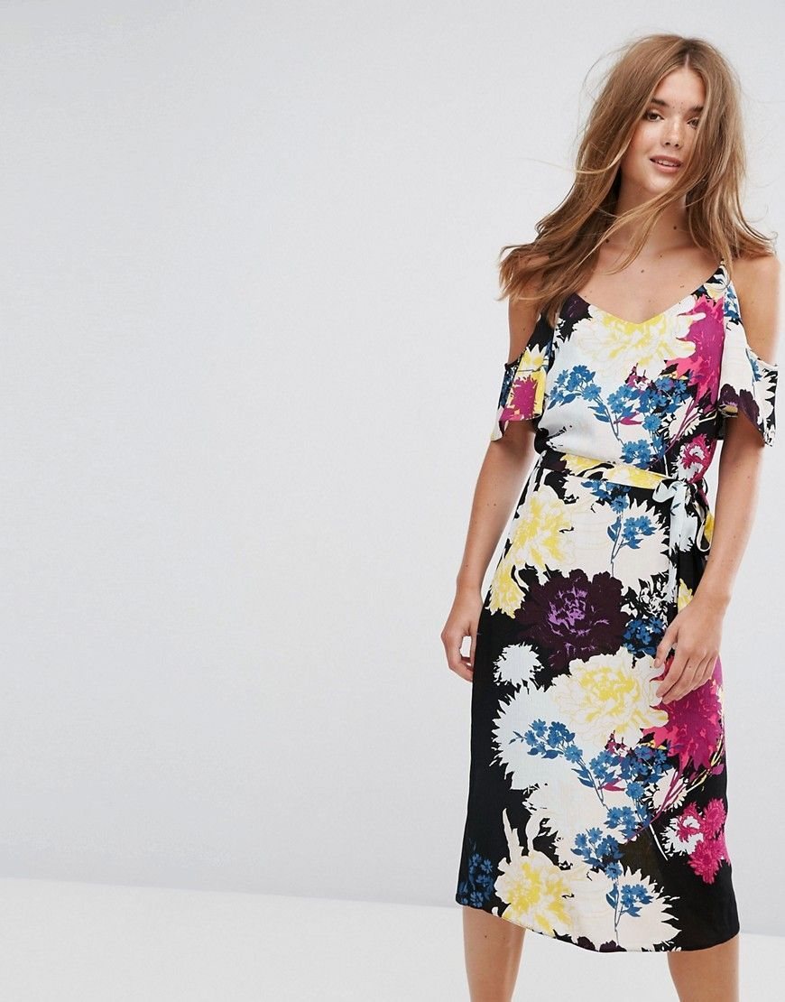 New look floral cold shoulder midi slip dress yellow fashion