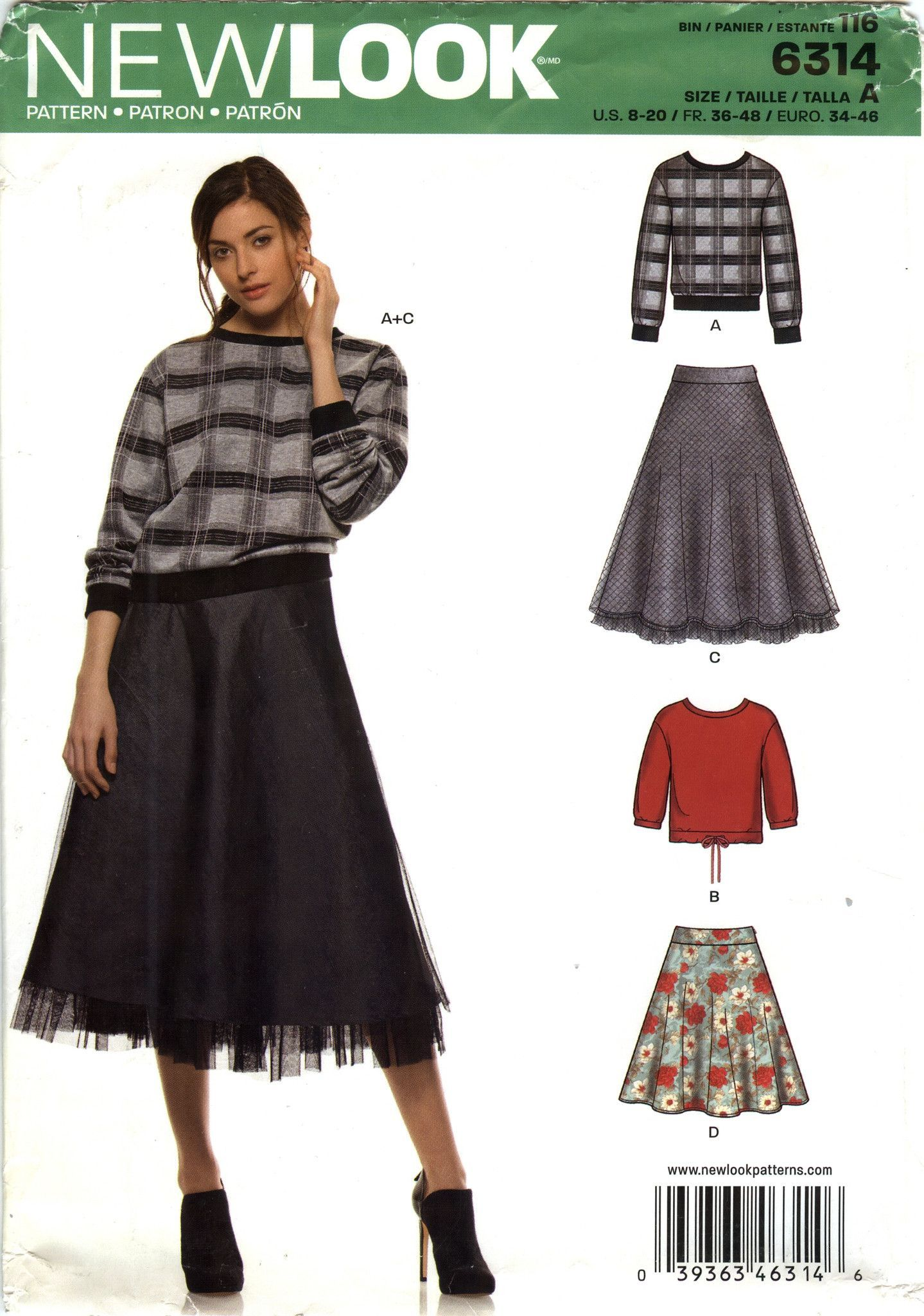New Look 6314 Misses\' Top and Skirt Seven Sizes in One | mccalls ...