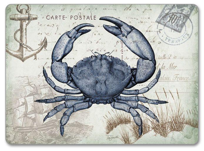 Seaside Crab Postcard 4 Hardboard Corkback Coastal Placemats Gallery Wrap Canvas Canvas Graphic Art Print