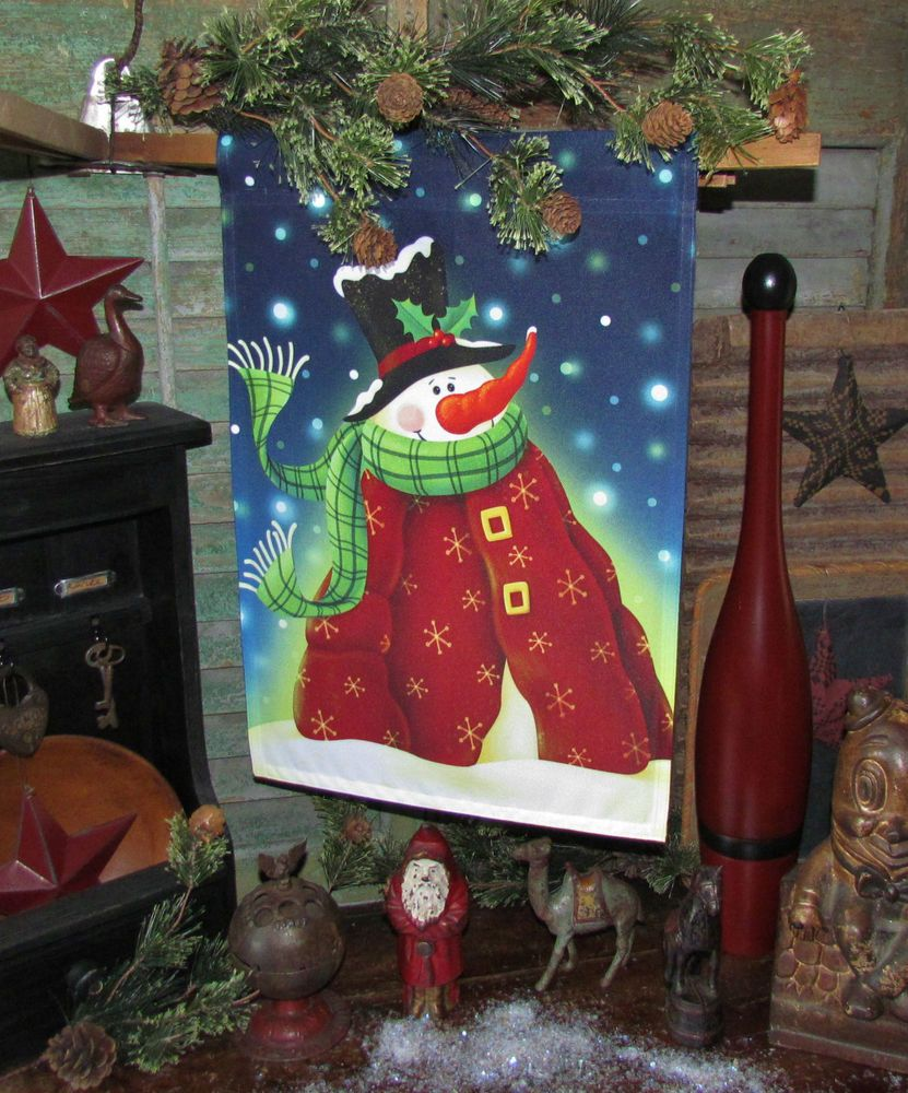 primitive retro christmas snow winter snowman w red coat fabric