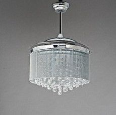 New Arrival Fan Folding Invisible Crystal Ceiling Light 42 7021 Brief Modern Fashion Belt Remote