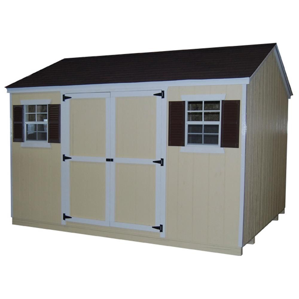 Little Cottage Co Value Workshop 12 Ft X 16 Ft Wood Shed Precut Kit With Floor 12x16 Vws Wpc Fk The Home Depot In 2020 Wood Shed Wood Storage Sheds Building A Shed