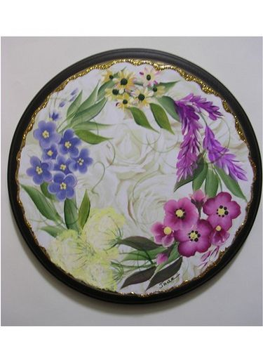 One Stroke Floral Round Wooden Plaque Wooden Plaques Folk Art And