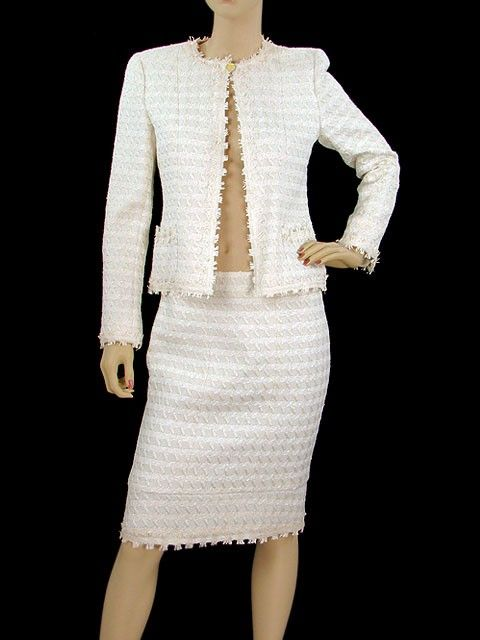Chanel Suit Cream And Pale Pink Tweed Skirt Suit Outfit Ideas