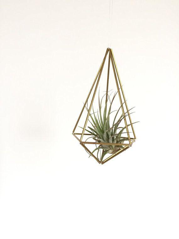 Brass Geometric Shape Hanging Planter Hanging Air Plant Gold