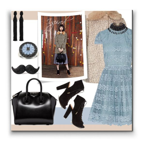 """""""Inspired Look"""" by alynncameron ❤ liked on Polyvore featuring Monsoon, Louche, Givenchy, Alice + Olivia, Kate Spade, Oscar de la Renta, Marc and fauxfurcoats"""