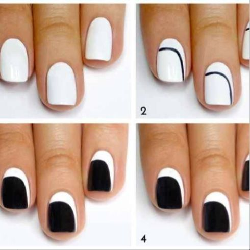 Black And White Nails Nail Art For Beginners Simple Nail Art