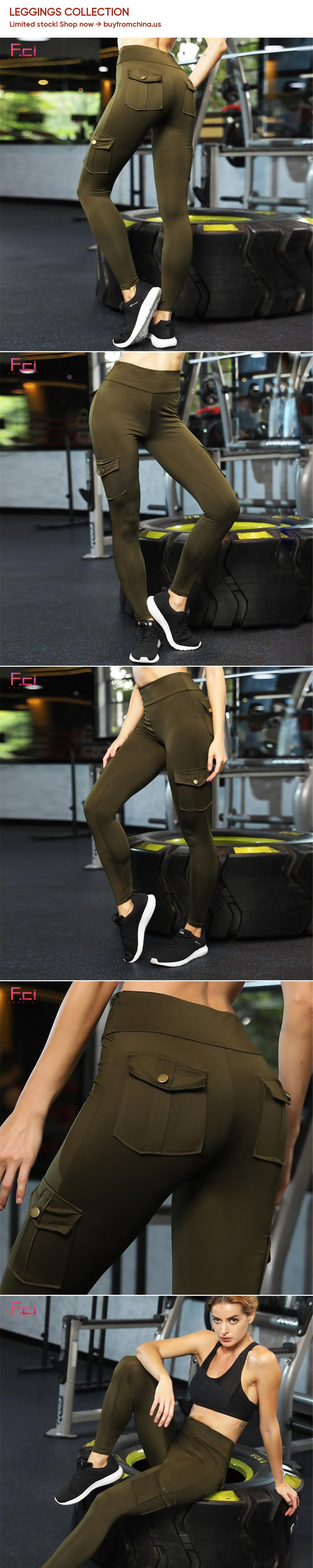 6b262669c028f FRECICI Women Skinny Cargo Pants Push Up High Waist Both Side Pocket  Leggings Hip Pocket Booty Leggings Workout Sporting Pants