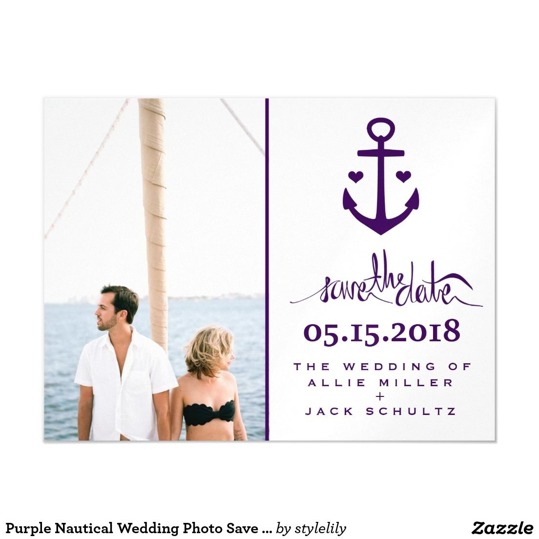 Purple Nautical Wedding Photo Save the Date Magnet Magnetic Card ...