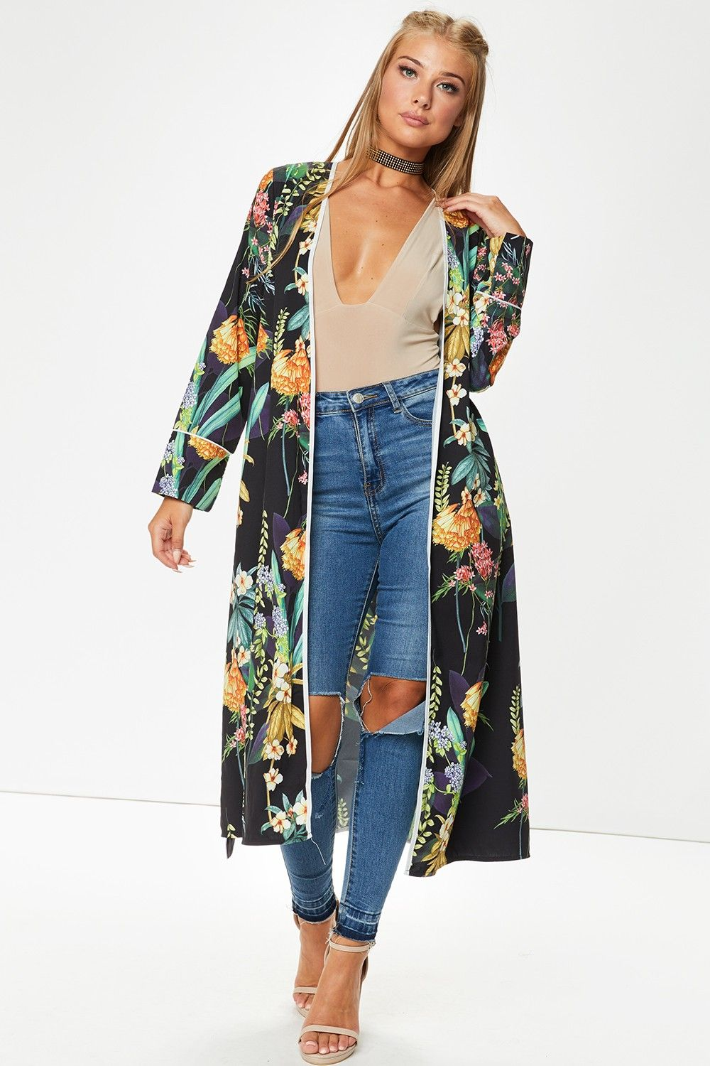 Cleo Navy Floral Longline Kimono Jacket | clothes shopping ...