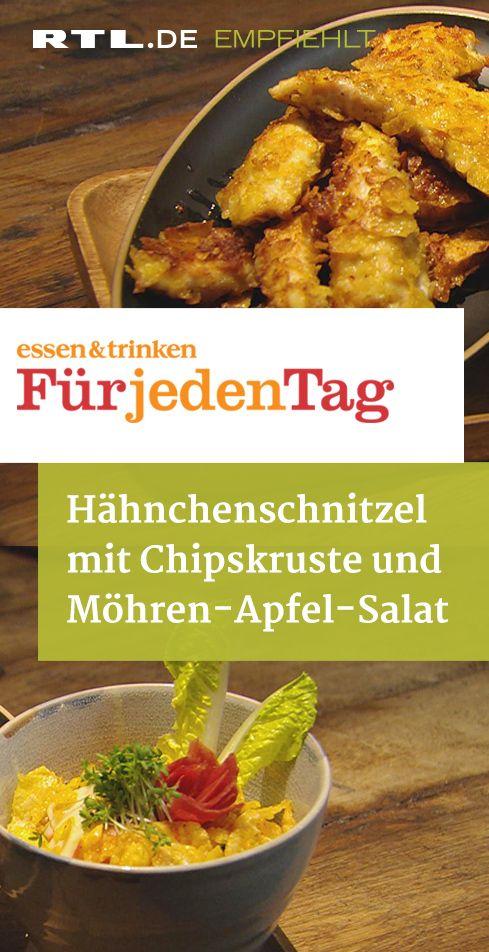 Hähnchenschnitzel mit Chipskruste und Möhren-Apfel-Salat #kartoffeleckenbackofen