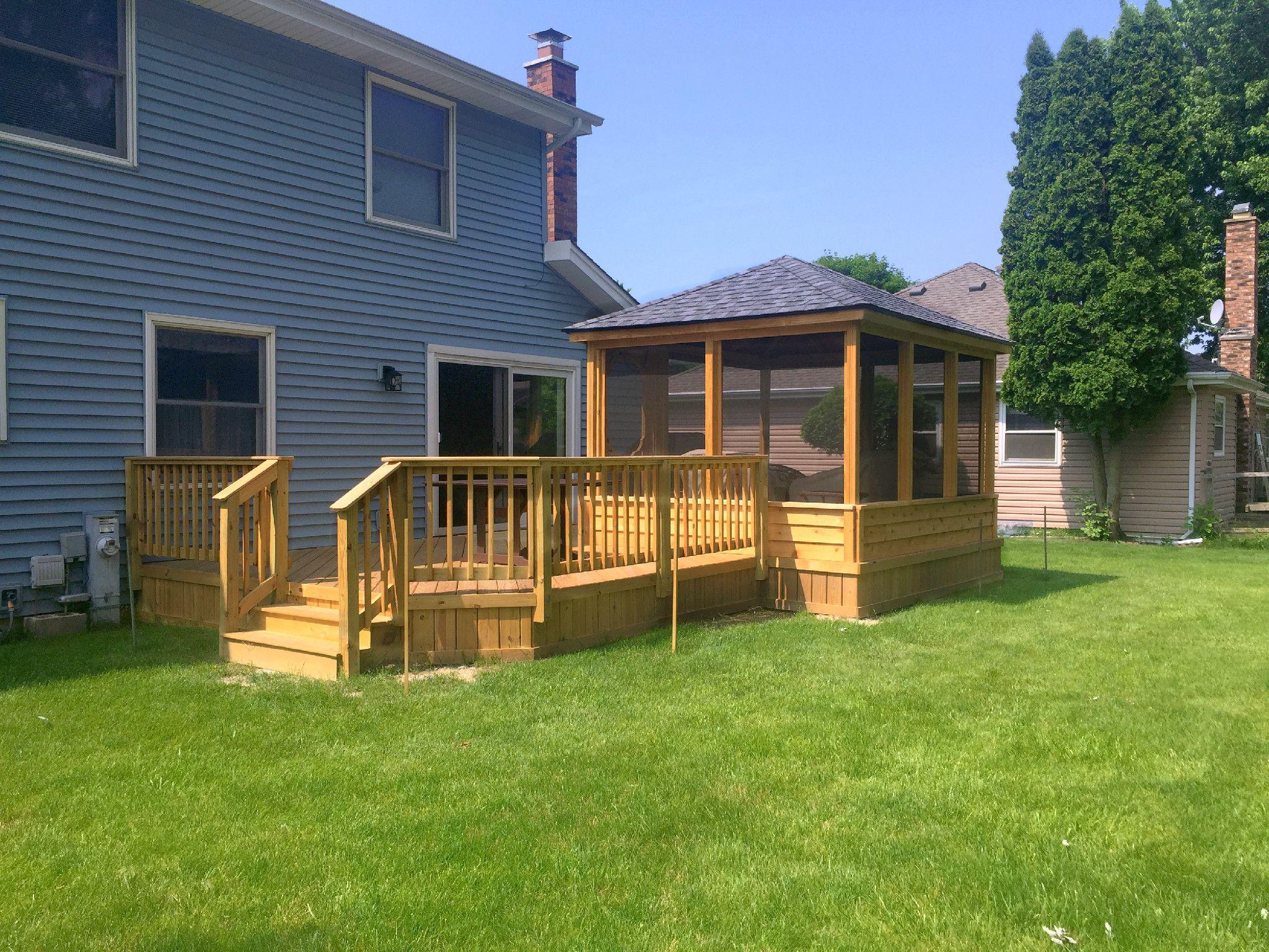 Enclosed Square Gazebo Design Idea With Wood Deck Backyard Gazebo Wood Deck Designs Gazebo Plans