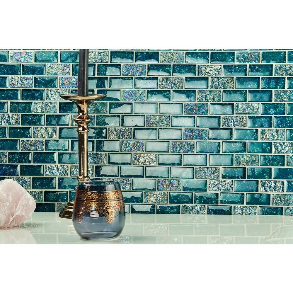 - Ivy Hill Tile Marina Iridescent Aqua Brick 11 3/4 In. X 11 3/4 In