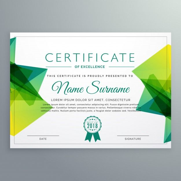 Polygonal Green Achievement Certificate Template Free Vector