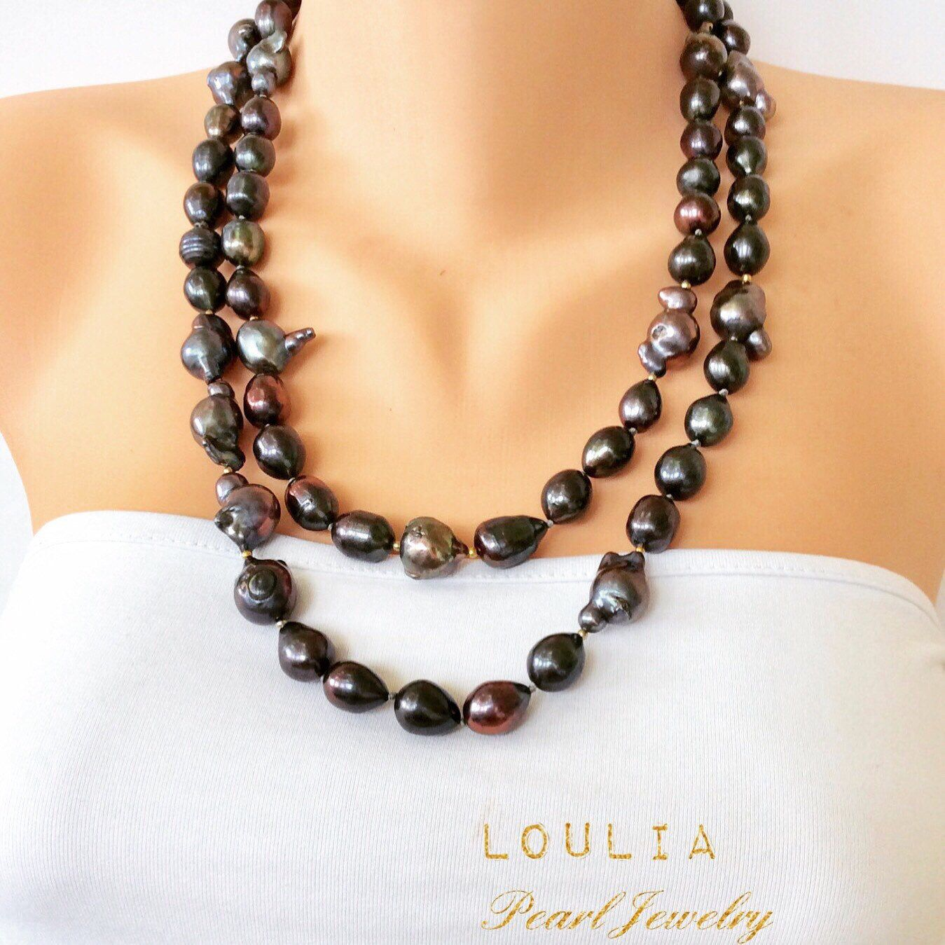 Baroque Pearls Peacock Pearls Long Rope Necklace Baroque Etsy Long Pearl Necklaces Necklace Rope Necklace