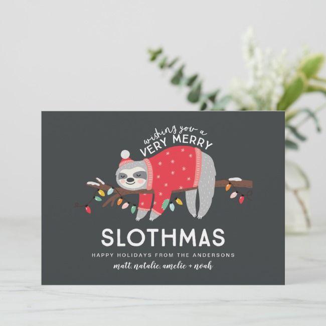 Funny sloth Christmas Holiday Card | Zazzle.com