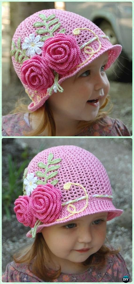Crochet Summer Cloche Sun Hat Free Pattern - Crochet Girls Sun Hat Free  Patterns 21ac9cc9a909