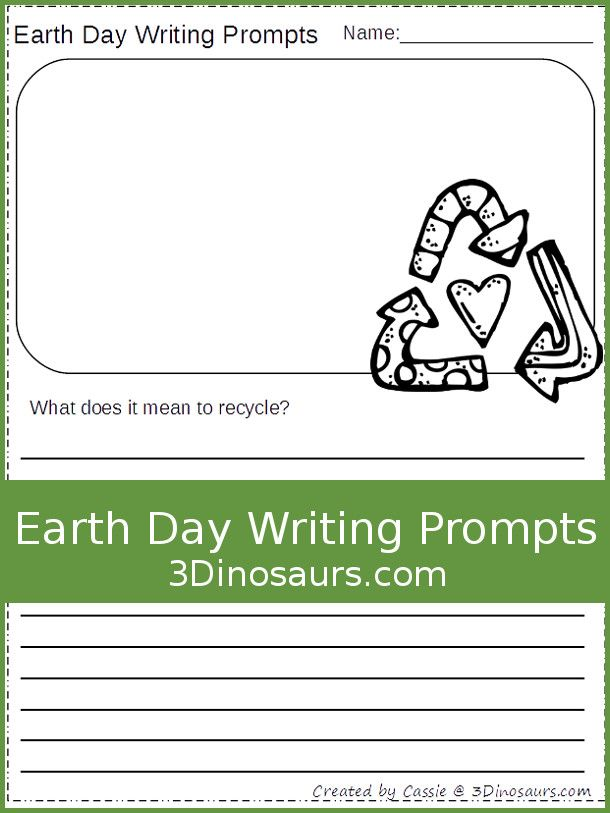 Free Earth Day Writing Prompts - two different types of lines and ...
