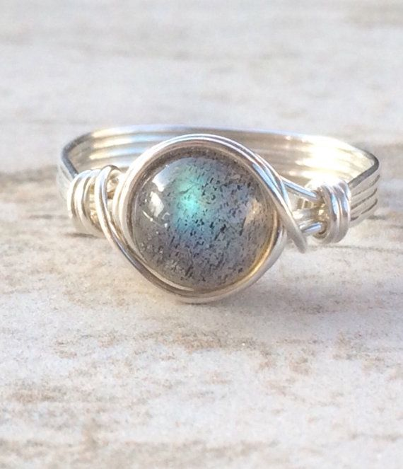 Labradorite Wire Wrapped Ring, Labradorite Gemstone Ring, Sterling Silver Filled Ring, Any Size