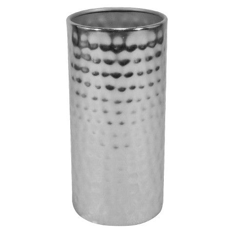 Fixer Upper S3 E6 Small Hammered Metal Vase On Coffee