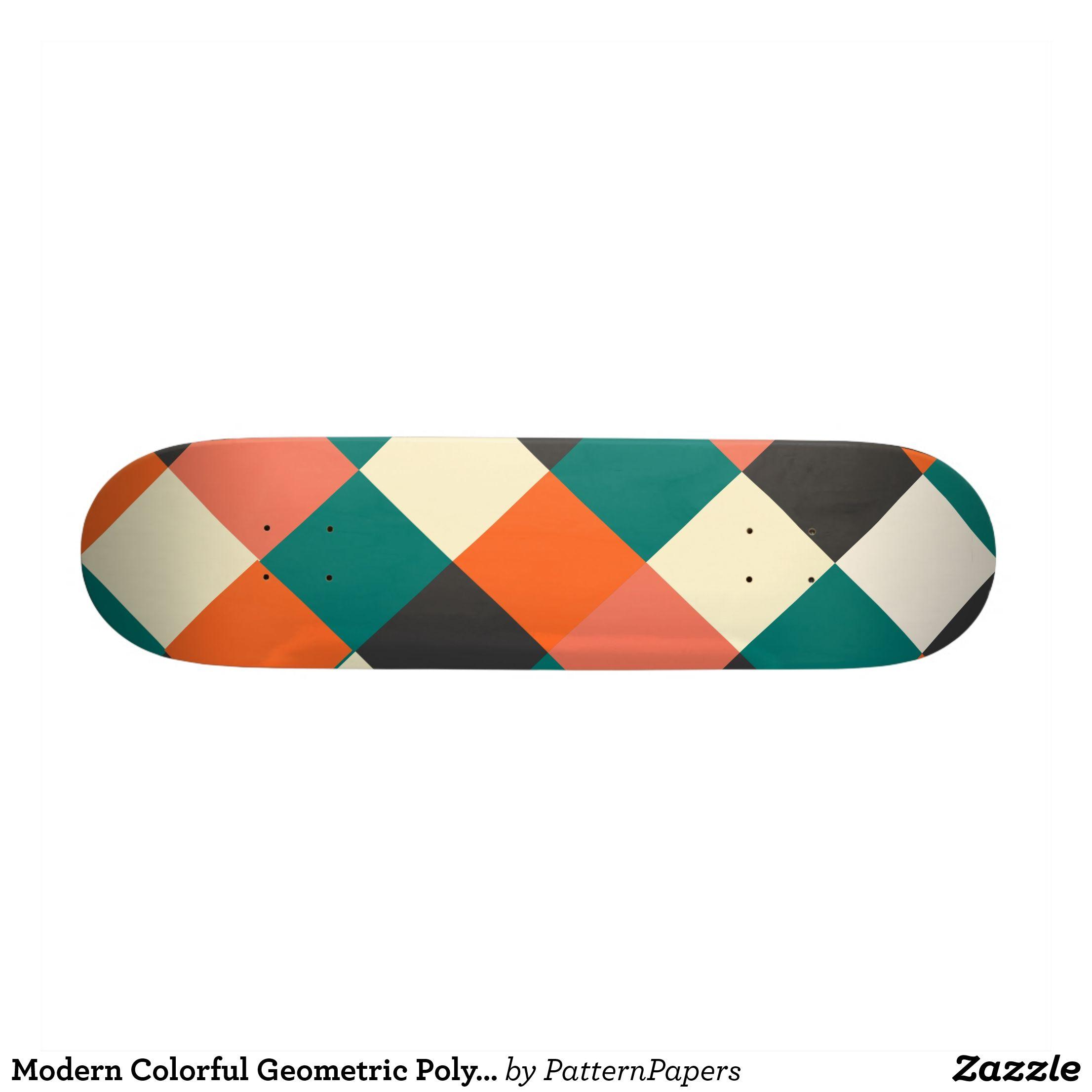 Modern Colorful Geometric Polygon Shapes Mosaic Skateboard Deck Supreme Hard Rock Maple Deck Custom Boards By Talented Fa Polygon Shape Geometric Skateboards