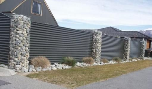 Hmmm These Gabion Pillars Could Look Cool With Wood Oak