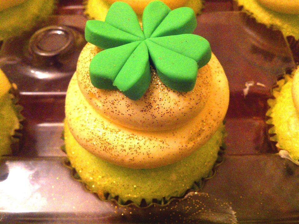 Saint Patricks Day Cupcake Four Leaf Clover